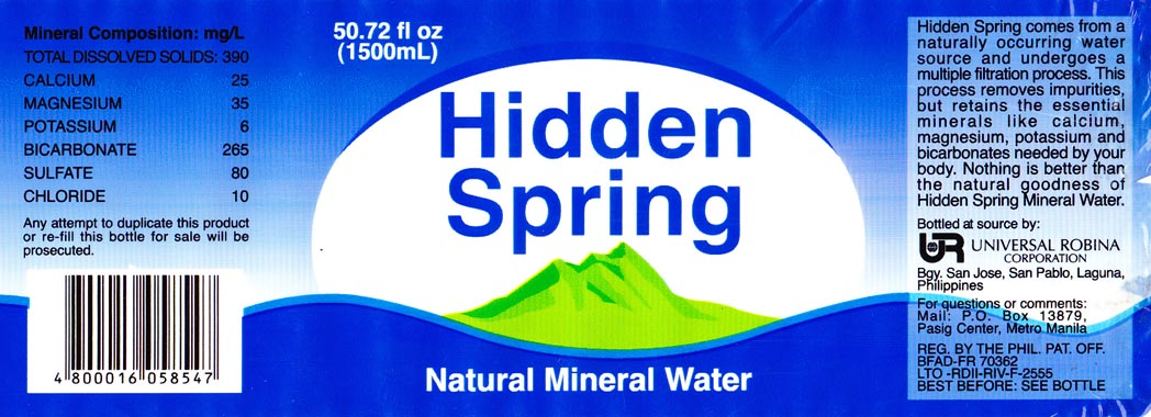 Hidden Spring Natural Mineral Water Alcoholic Drinks Where To